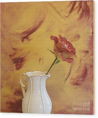 Rose In A Pitcher Wood Print by Marsha Heiken