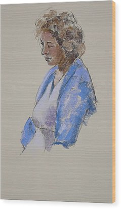 Rose In Her Blue Shawl Wood Print by Mary McInnis