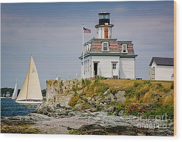 Rose Island Light Wood Print by Susan Cole Kelly