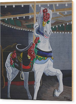 Wood Print featuring the painting Rose Lead Horse by Paul Amaranto