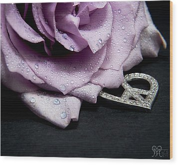 Rose Love And Peace Tow Wood Print by Karen Musick