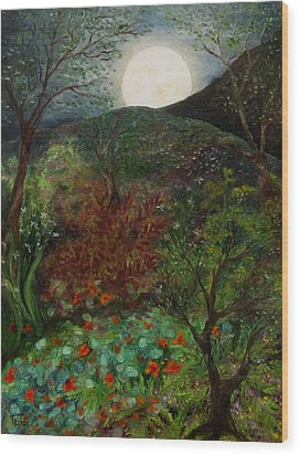 Rose Moon Wood Print by FT McKinstry