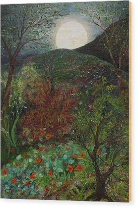 Rose Moon Wood Print