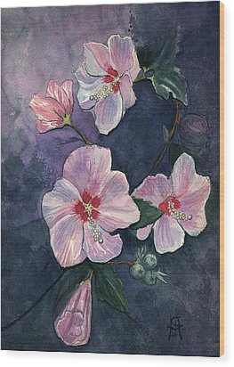 Wood Print featuring the painting Rose Of Sharon by Katherine Miller