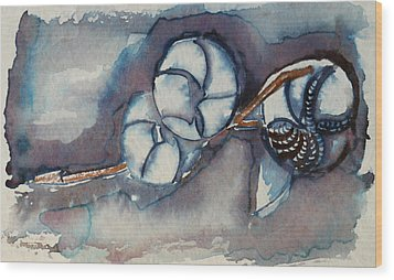 Rose Of Sharon Seed Pods Wood Print by Diana Davenport