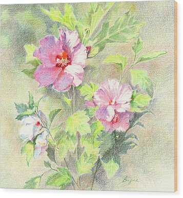 Wood Print featuring the painting Rose Of Sharon by Vikki Bouffard