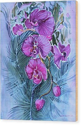 Wood Print featuring the painting Rose Orchids by Mindy Newman