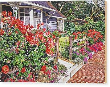 Rose Ranch House - Bel-air Wood Print by David Lloyd Glover