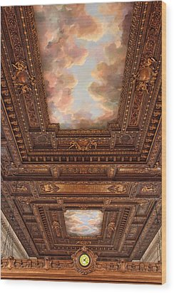 Wood Print featuring the photograph Rose Reading Room Ceiling by Jessica Jenney