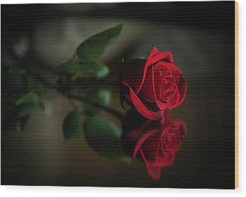 Rose Reflected Wood Print