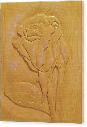 Rose Relief Wood Print by Russell Ellingsworth
