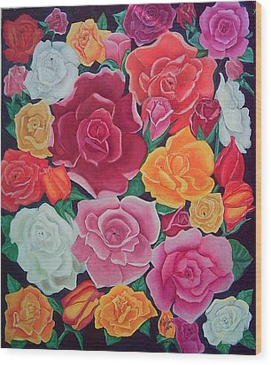 Rose Reunion Wood Print by Kathern Welsh