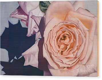 Wood Print featuring the painting Rose Splendour by Kerryn Madsen-Pietsch