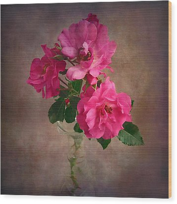 Wood Print featuring the photograph Rose Trio Still Life by Louise Kumpf