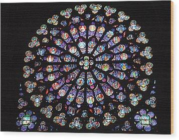 Rose Window Of Notre Dame Paris Wood Print by Jacqueline M Lewis