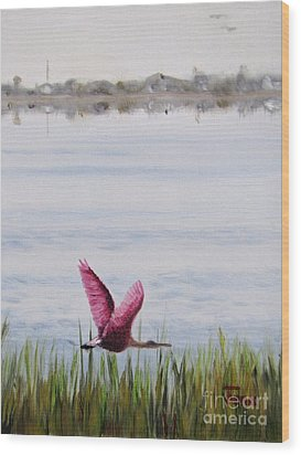 Wood Print featuring the painting Roseate Spoonbill Flight Over The Bay by Jimmie Bartlett
