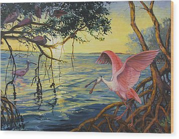 Roseate Spoonbills Among The Mangroves Wood Print by Dianna  Willman