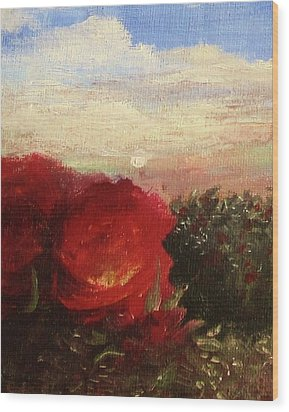Rosebush Wood Print by Mary Ellen Frazee