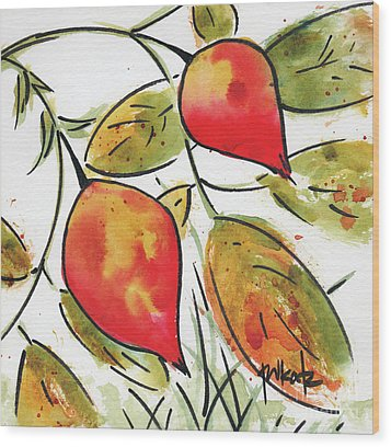 Wood Print featuring the painting Rosehips In Autumn by Pat Katz