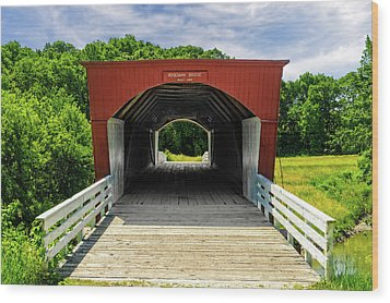 Roseman Covered Bridge Madison County Iowa  -  Std2 Wood Print by Frank J Benz