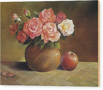 Roses And Apple Wood Print by Han Choi - Printscapes