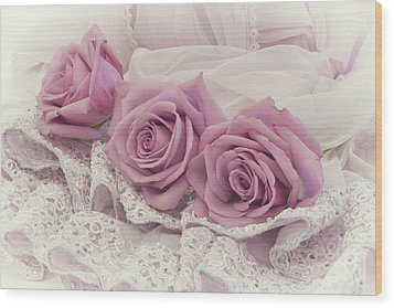 Roses And Beaded Lace Wood Print by Sandra Foster