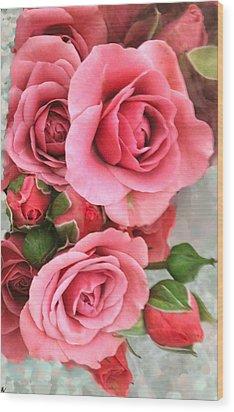 Roses And Buds Wood Print by Debra     Vatalaro
