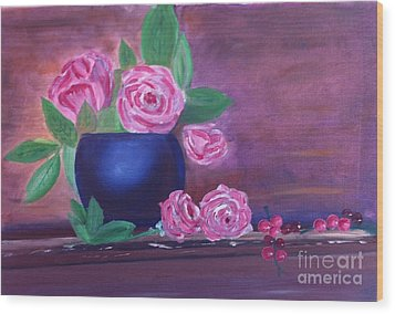Roses And Grapes Wood Print by Rod Jellison