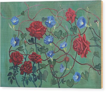 Roses And Morning Glories Wood Print