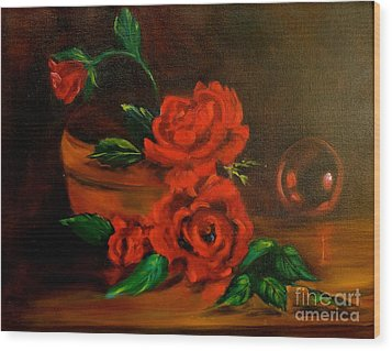 Wood Print featuring the painting Roses Are Red by Jenny Lee