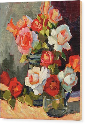 Roses From My Garden Wood Print by Diane McClary