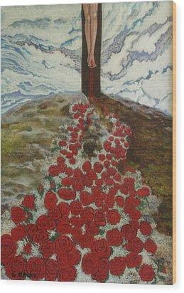 Roses Wood Print by Georgette Backs