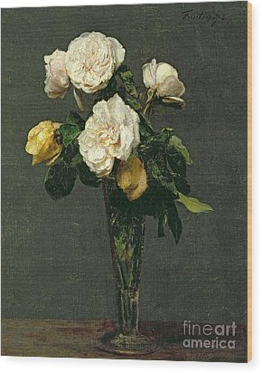 Roses In A Champagne Flute Wood Print by Ignace Henri Jean Fantin-Latour