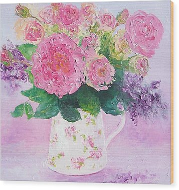 Roses In A Pink Floral Jug Wood Print by Jan Matson