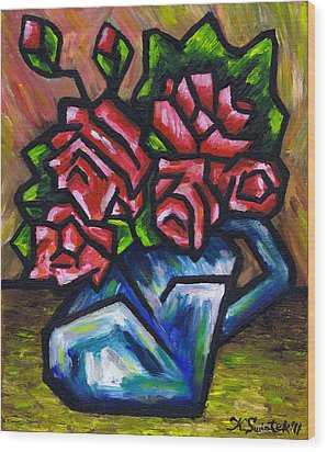 Roses In Blue Vase Wood Print by Kamil Swiatek