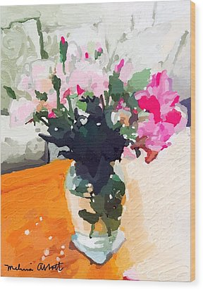 Roses In The Living Room Wood Print