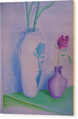 Wood Print featuring the painting Roses  In Vase by Eric  Schiabor
