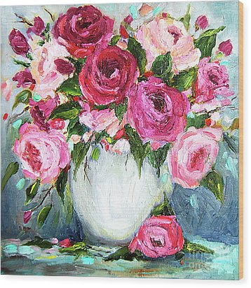 Wood Print featuring the painting Roses In Vase by Jennifer Beaudet