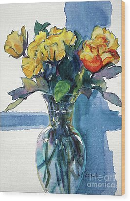 Roses In Vase Still Life I Wood Print