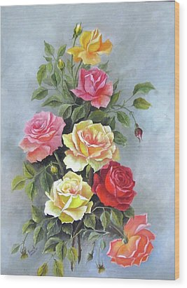 Roses Wood Print by Katia Aho