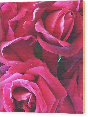 Roses Like Velvet Wood Print