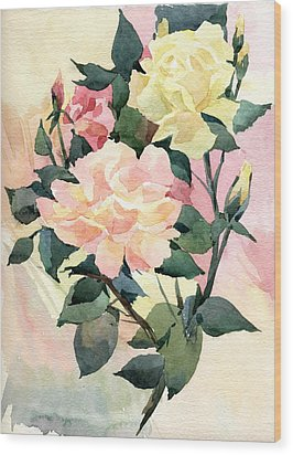 Roses Wood Print by Natalia Eremeyeva Duarte