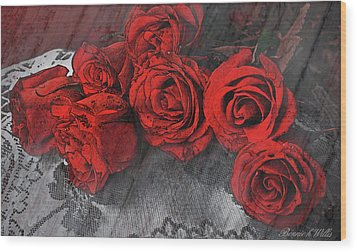 Wood Print featuring the photograph Roses On Lace by Bonnie Willis