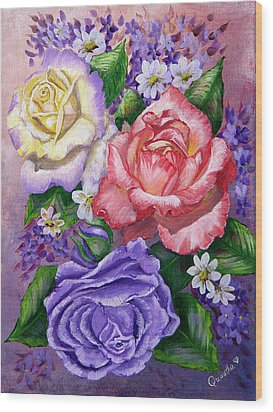 Roses Wood Print by Quwatha Valentine