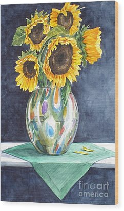Rose's Sunflowers Wood Print
