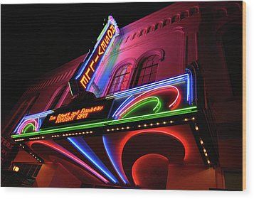 Roseville Theater Neon Sign Wood Print