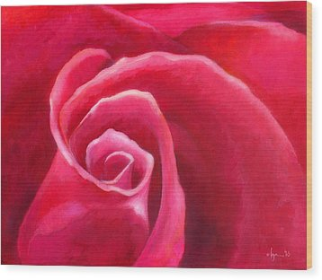 Rosey Lover Wood Print by Angela Treat Lyon