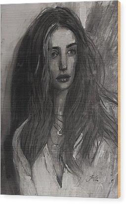 Wood Print featuring the painting Rosie Huntington-whiteley by Jarko Aka Lui Grande