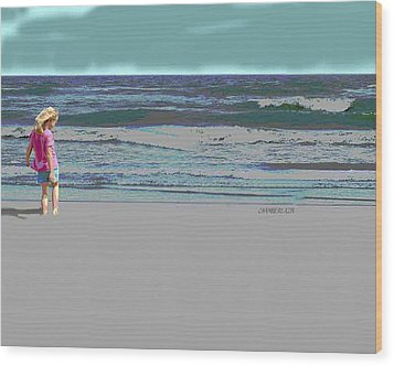 Wood Print featuring the digital art Rosie On The Beach by Walter Chamberlain