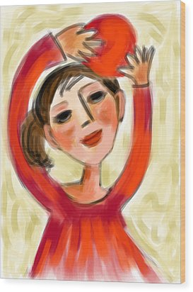 Wood Print featuring the digital art Rosie Red  by Elaine Lanoue